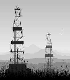 Industrial landscape with oil rigs and mountains silhouettes. detailed illustration.