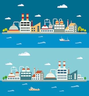 産業景観と産業用建物。ボイラー棟。パワービルディング。倉庫の建物。工場の建物。変電所の建物。建物都市工業用建物。