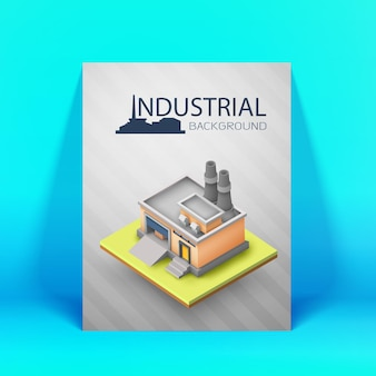 Industrial layout or poster for advertising or business presentation colored and 3d