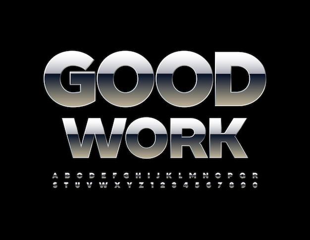 Industrial logo good work bold metallic font
