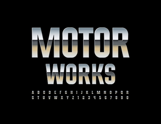Industrial logo motor works metallic shiny font chrome glossy alphabet letters and numbers set
