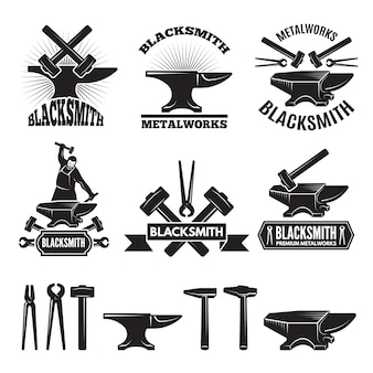 Industrial logo set. labels for blacksmith.