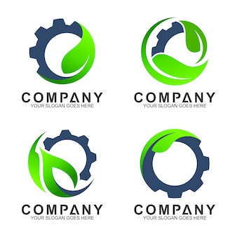 Industrial logo templates, gear with leaf logo