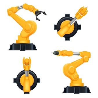 Industrial machinery factory mechanic hydraulic crane for steel industry automation processes realistic robots.