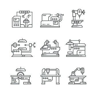 Industrial machines line icons.