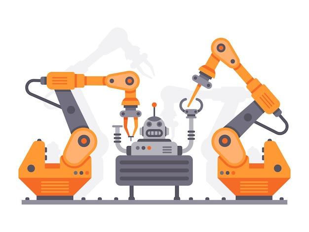 Промышленные манипуляторы собирают робота. плоская иллюстрация