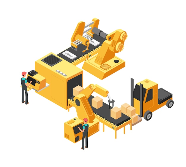 Industrial manufacturing conveyor line with packaging equipment and factory workers. 3d isometric vector illustration