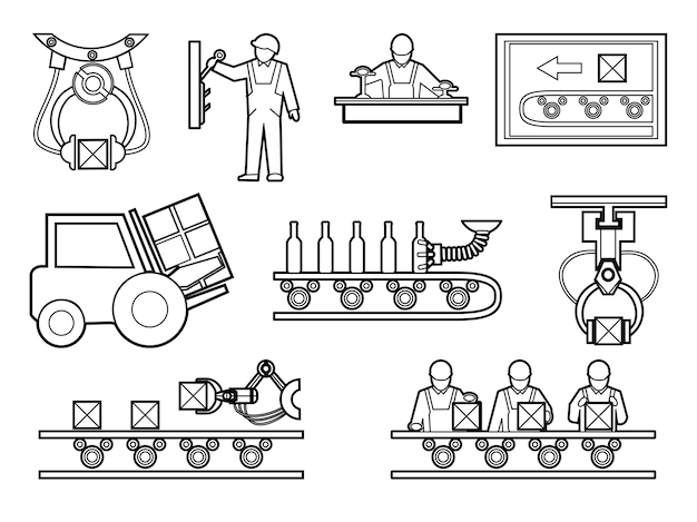 Industrial and manufacturing process elements set in line art style.