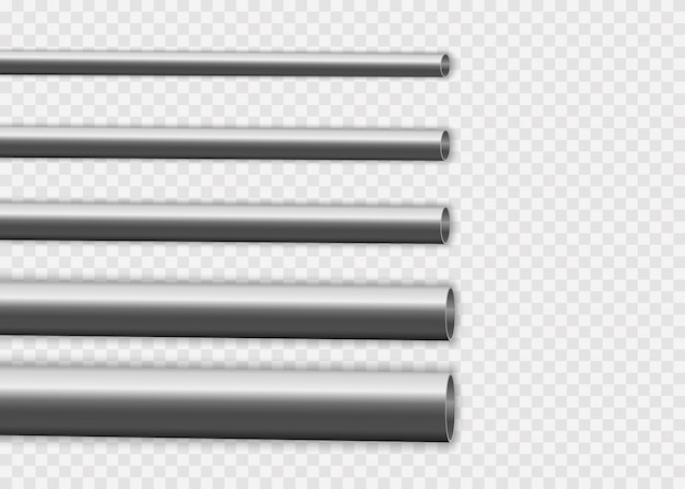 Industrial, metal pipelines manufacturing concept. steel or aluminum pipes of various diameters isolated on a white background. glossy 3d steel pipe design.