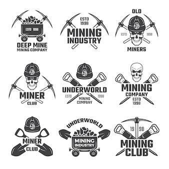 Industrial mineral mining logo set
