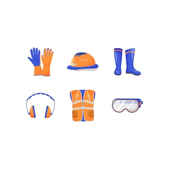 Industrial personal protective equipment flat color objects set