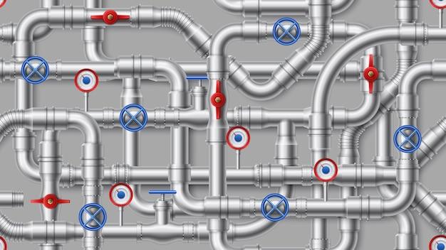 産業パイプライン。鋼管、バルブイラスト付き金属管。給水、排水、配管システム用の織り交ぜられた導管。