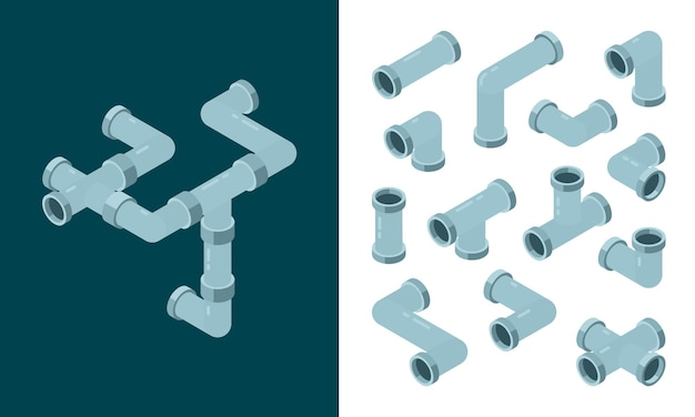 Industrial pipes. oil or water plastic tubes steel pipes connections isometric set.