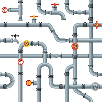 Industrial pipes seamless pattern. pipe valves and taps, drain cooling or heating system pipelines gas pressure gauge