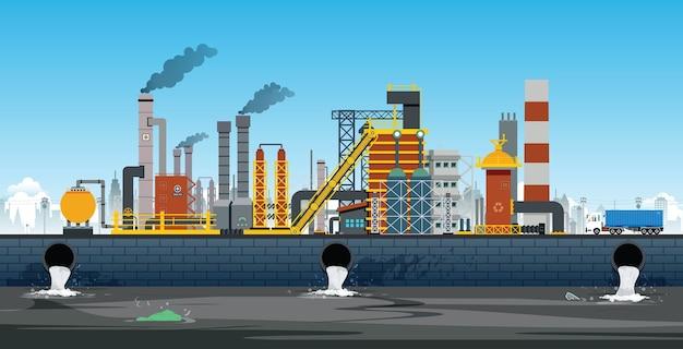 産業プラントは廃水を処理池に排水しています Premiumベクター