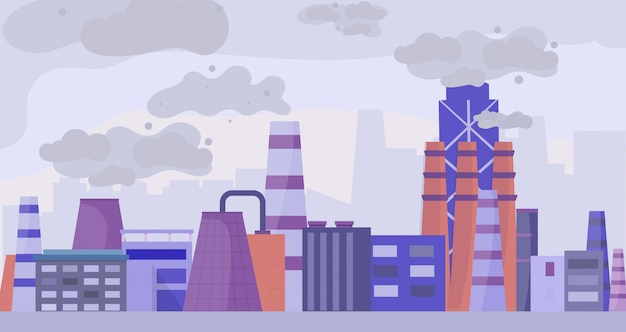 Industrial polluted city, urban scapes concept flat vector illustration. factory area and plant, pollution of environment.