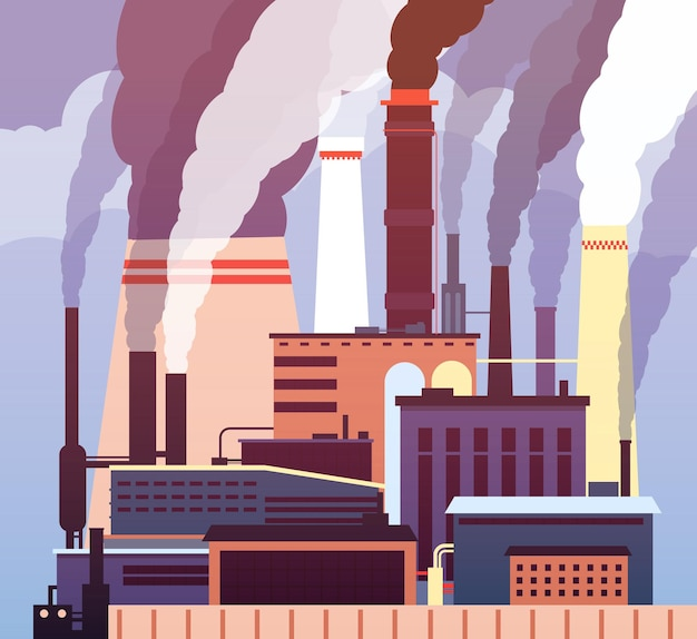 Industrial pollution. polluted environment, industrial toxic smog, factory smoking pipes air pollution.