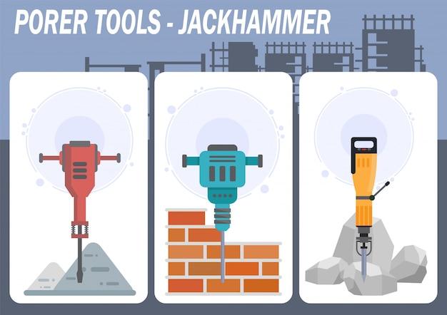 Industrial power tools shop flat vector web banner