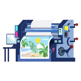 Industrial printer machine with printing paper