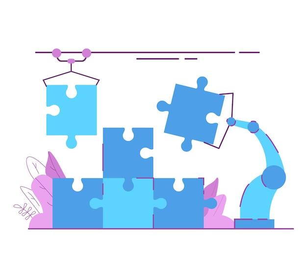 산업용 퍼즐 조립 로봇. 현대 공장 로봇 손이 퍼즐을 쥐고 솔루션 찾기