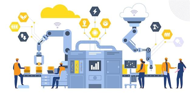 産業革命フラットベクトルイラスト。男性と女性の工場の同僚、エンジニアの漫画のキャラクター。製造工程、最新のハイテク機械。コンベアライン制御