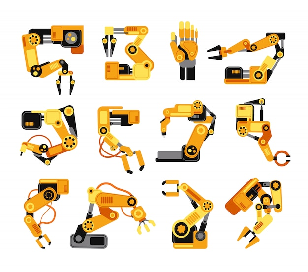 Industrial robotic arms manufacture technology assembly equipment vector set