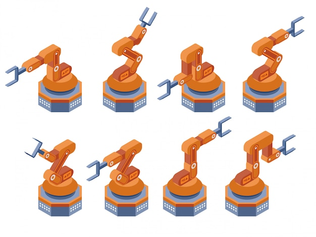 Industrial robotic arms manufacture technology. isometric vector illustration