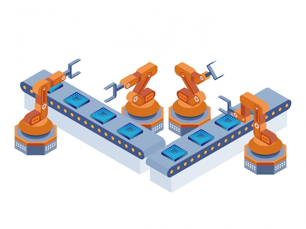 Industrial robotic arms manufacture technology, isometric