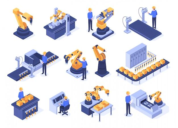 産業用ロボット。組立ラインマシン、エンジニアワーカーと製造技術が設定されたロボットアーム