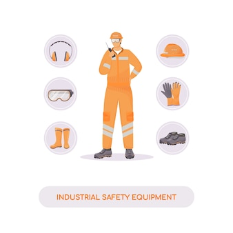 Industrial safety equipment flat concept illustration. hardhat, gum shoes and accessories. builder, engineer 2d cartoon character for web design. injury prevention, work safety creative idea