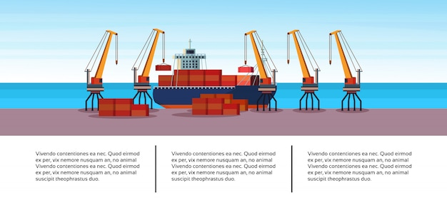Industrial sea port freight ship cargo crane business infographic template