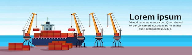 Industrial sea port freight ship cargo crane logistics container loading water