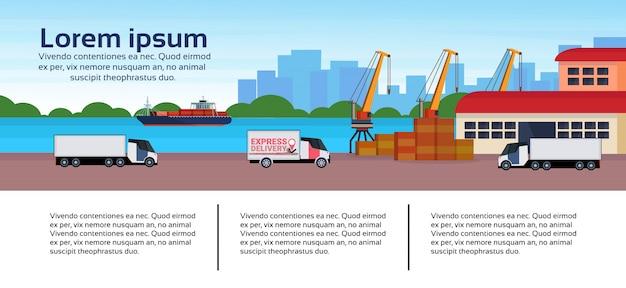 Industrial sea port freight ship cargo minivan crane logistics business infographic template