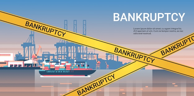 Industrial sea port with yellow bankruptcy tape coronavirus pandemic quarantine  concept
