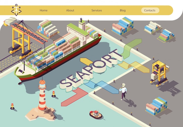 Industrial seaport flowchart isometric banner