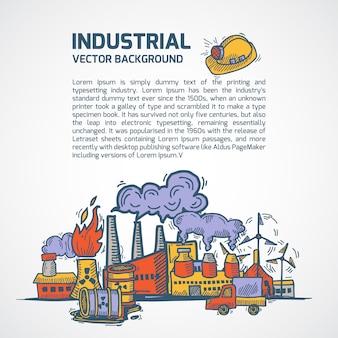 Industrial sketch background with text template