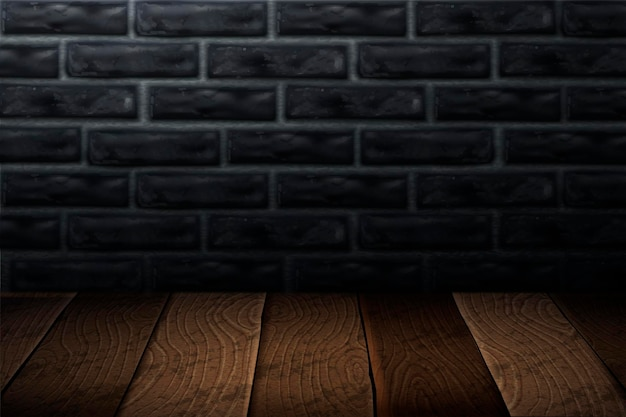 Industrial style background with wooden plank and grey brick wall in 3d illustration