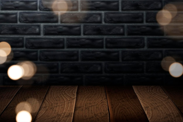 Industrial style background with wooden plank and grey brick wall