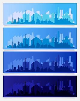 Industrial trendy city skyline colored sets. vector illustration