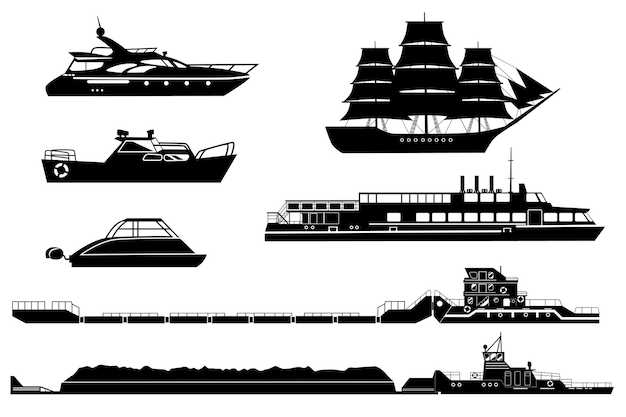Industrial tugs and passenger boats and yachts