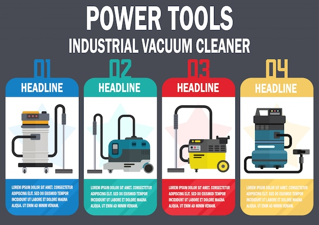 Industrial vacuum cleaners flat vector web banner