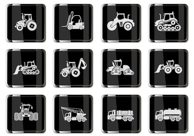 Industrial vehicles icons set with tractor loader paver excavator bulldozer truck isolated vector illustration. pictograms in black chrome buttons.