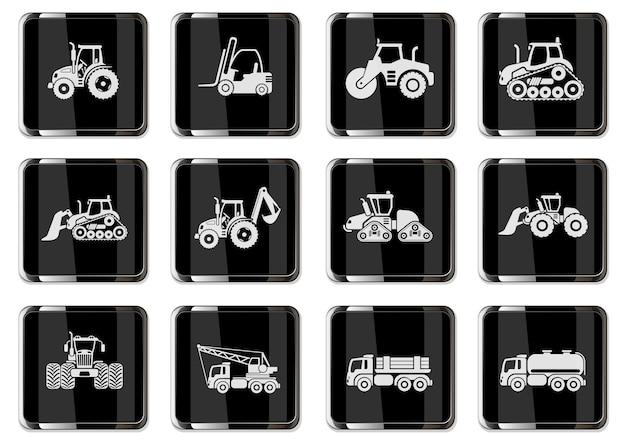 Набор иконок промышленных транспортных средств с трактором, погрузчиком, асфальтоукладчиком, экскаватором, бульдозером, изолированных векторные иллюстрации. пиктограммы в черных хромированных кнопках.