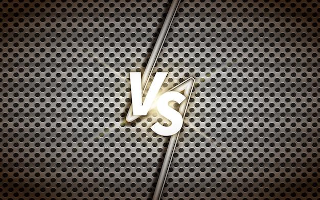 Industrial versus screen  template, battle headline on metallic grid