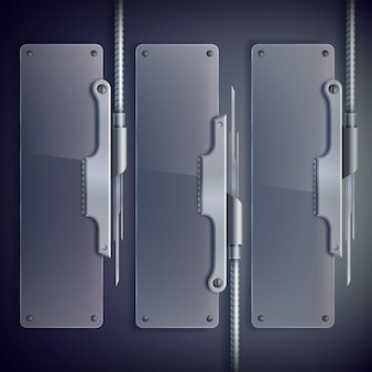 Industrial web glass vertical with metal support