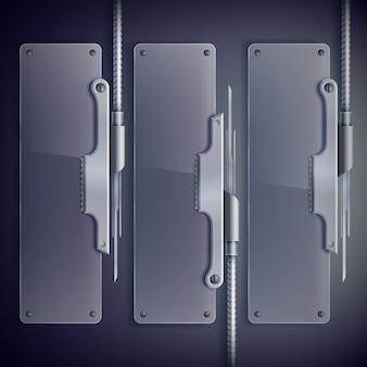 金属サポート付き垂直産業用ウェブガラス