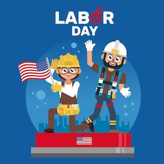 Промышленный рабочий, отмечающий день труда америки