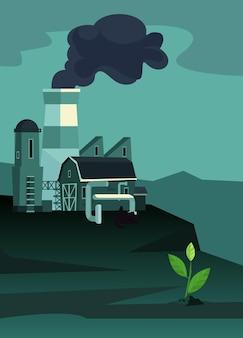 Заводы промышленной зоны с трубами. одно уцелевшее растение. загрязнение окружающей среды. плоский мультфильм иллюстрации