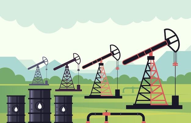 산업 지대 석유 시추 개념