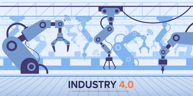 Industry 4.0 banner with intelligence technology with robotic arm.